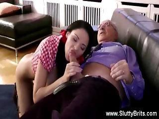 Cute girl sucks and fucks old mans cock