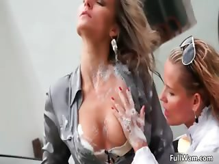 Horny blonde lesbian babe loves sucking part3