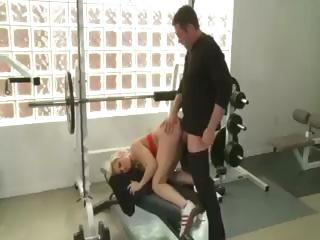 Fat daddy gets a perfect sex workout from a super-hot busty blond coach