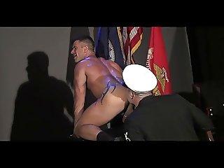 Men in uniform flip flop