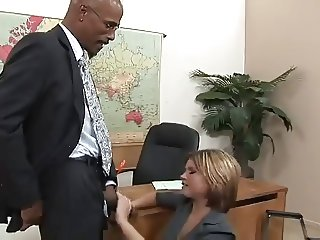 Attractive girl nailsher employment interview