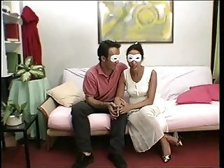 Masked couple - very hairy mature pussy