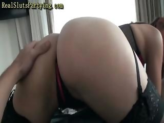 Brunette with a very nice ass eats cock and gets drilled in it