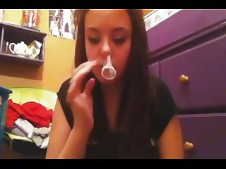 Insert condom up nose and pull out from mouth (Camaster)