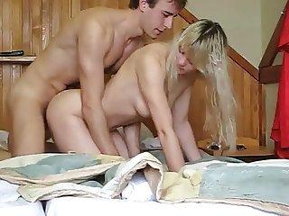 Super hot blondy teen has doggystyle sex