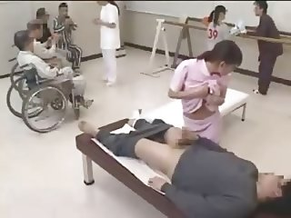 Nurse gives handjob in public