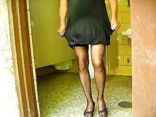 crossdresser in park restroom