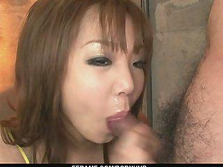 Filthy and cock-hungry Asian pervert, Mizuki Ishikawa gagging random cocks