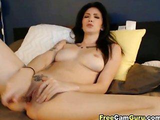 Sexy tattoo babe tight wet pussy toyed
