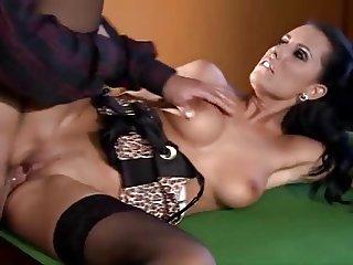Melissa Ria with black stockings fucks on pool table