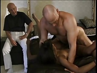 Dirty black whore deep throats a hard white cock then fucks