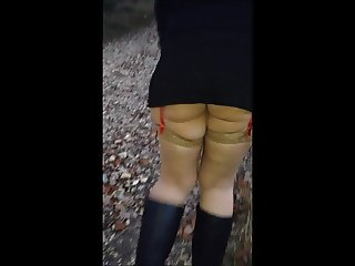 Paris bitch in the woods Upskirt
