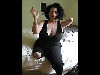Glorious big tits amputee - two stumps dancing