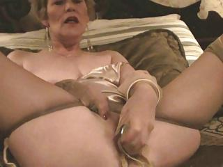 Old Lady, Stockings & Dildo (Masturbation)