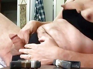 Artemus crossdresser nipple clamps and cumshot