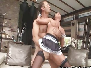 Threesome with pretty slave and hot maid