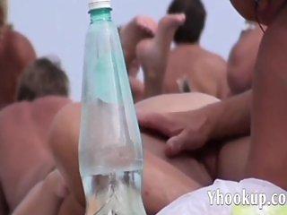 French nudist beach Cap d'Agde pussy spread o