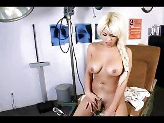 Busty Blonde Tgirl Nurse Toying Ass
