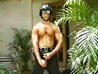 Police Officer Masturbates in Uniform and Helmet