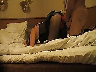Wife enjoys double dildo in pantyhose