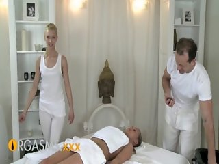 ORGASMS Young girl has two strong men massage and orgasm her