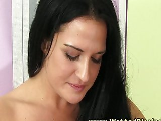 Young pee fetish babe drenched in pee