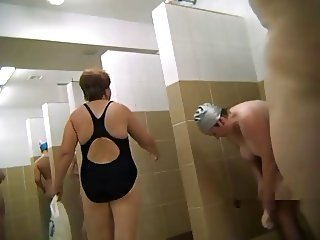 Russian matures in the public shower 2 by Clessemperor