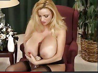 Busty Blonde Pink Dildo