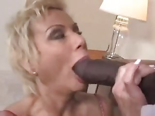 Busty blonde cougar big black cock blowjob titfuck