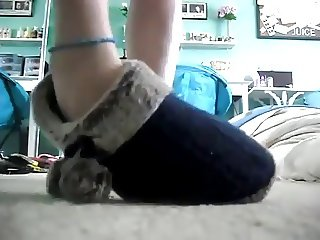 Cute Girl Shows her Flip Flops and other shoes