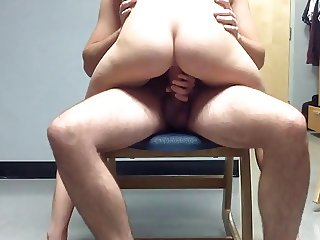cock riding on the chair
