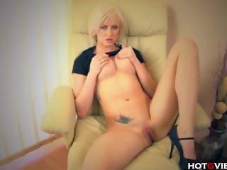 Blonde Babe Finger Fucks her Shaved Pussy