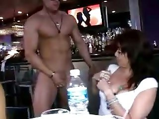 Hot, Clothed Women Sucking Naked Stripper Cock