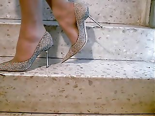 Tan Pantyhose Sexy Stiletto High Heels Fuck Me Pumps Stairs
