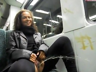 German slut takes a piss on a train