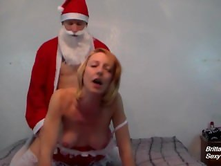 Fucking Santa Doggystyle Until He Gives a Nice Creampie