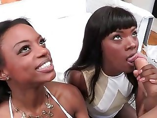 Beauty ebony teen Ana & Tiffany blowjob with cumshot