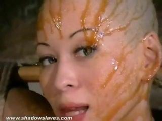 Asian bondage pornstar Kumimonsters bizarre feather and tar domination