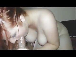 Beautiful Redhead Teen Swallow