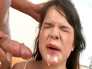 sweet sandra brutal double anal gangbang