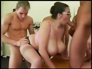 Huge breasted doctor gangbanged.