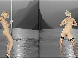 sexy blonde striptease art in stereo