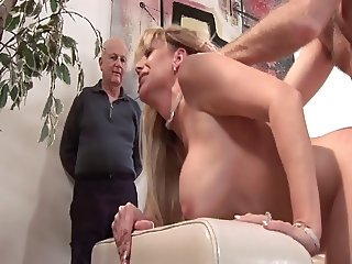 Busty mature blonde gets her pussy pounded while her husband watches
