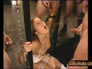 Amateur slut Kathy gets a group pissing