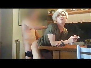 Tranny fucked while smoking