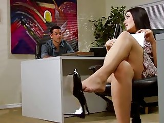 Kimberly Kane Sexy office footjob and blowjob