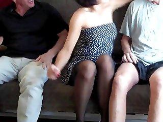 Annoying girl footjob 2 guys