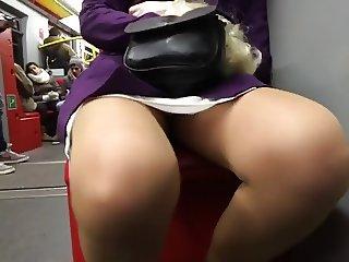Upskirt in metro and escalator