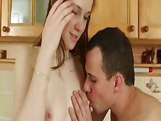 Horny husband fucks wife in the kitchen