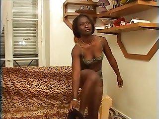 Amateur ebony gangbang